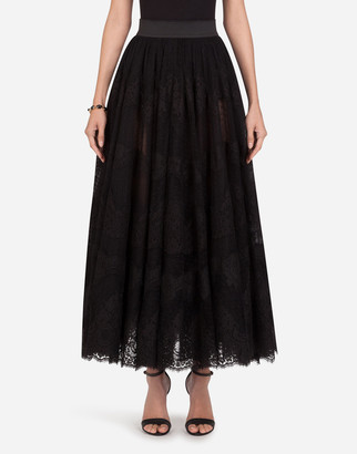 Dolce & Gabbana Long Lace Plumetis Skirt