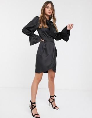 Vila satin mini dress in black with pussy bow
