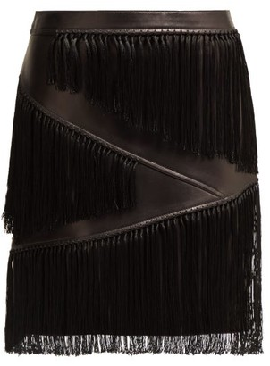 Versace Fringed Leather Mini Skirt - Womens - Black