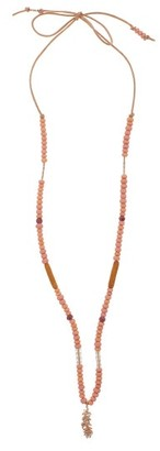 Musa By Bobbie - Diamond, Ruby & 14kt Rose-gold Charm Necklace - Pink