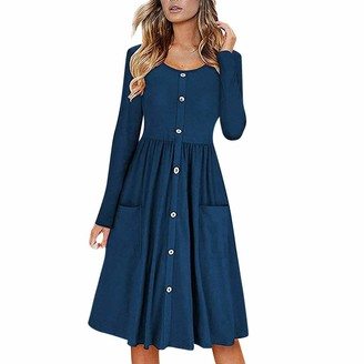 Toamen Women's Dress Sale Clearance 2019 New Ladies Sexy V-Neck Long Sleeve Button Down Skater Swing A-Line Dress with Pockets(Green 16)