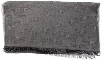Emporio Armani Grey Logoed Cotton Blend Scarf