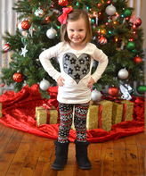 Beary Basics White & Black Heart Tee & Leggings - Toddler & Girls