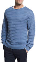 Vince Horizontal Textured Crewneck Sweater, Dutch Blue