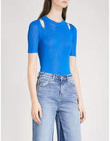 Mo&Co. Cold-shoulder ribbed knitted top
