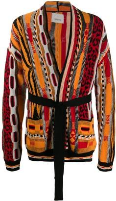 Laneus Mixed-Pattern Belted Cardigan