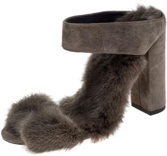 Aquazzura Grey Fur Purr Purr Ankle Strap Sandals Size 36.5