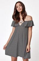 La Hearts Ribbed Ruffle Off-The-Shoulder Dress