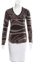 Joseph Abstract Satin-Trimmed Top