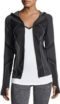 Blanc Noir Sculpt Zip-Front Hooded Performance Jacket