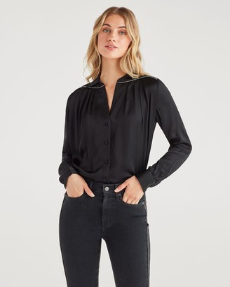 7 For All Mankind Satin Snake Piping Shirt in Jet Black