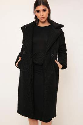 I SAW IT FIRST Black Longline Double Button Borg Coat