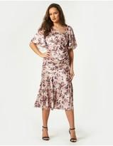 Thumbnail for your product : Little Mistress Elon Mink Floral-Print Satin Asymmetric Midaxi Dress