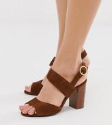 Wide Fit wide fit asymmetric strap block heeled sandal in tan