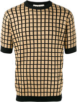 Marni grid print short sleeve jumper - men - Cotton/Polyamide - 50