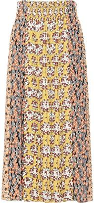 Prada Printed Pleated Midi Skirt