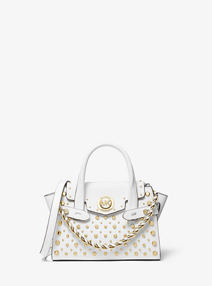 MICHAEL Michael Kors MK Carmen Extra-Small Studded Saffiano Leather Belted Satchel - Black - Michael Kors