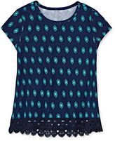 Arizona Short-Sleeve Crochet-Trim Top - Preschool Girls 4-6x