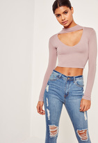 Missguided Purple Choker Neck Cropped Sweater