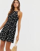 Asos Design DESIGN high neck low back mini sundress in daisy print