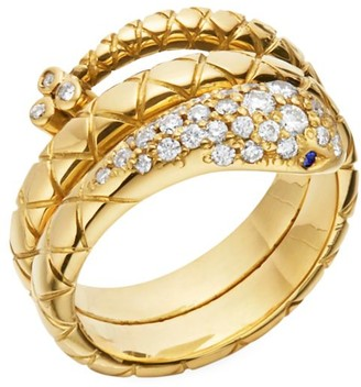 Temple St. Clair Double Serpent 18K Yellow Gold & Diamond Ring