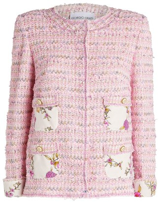 Giorgio Grati Floral Trim Tweed Jacket