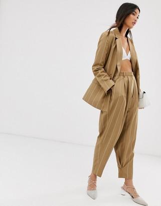 Asos Design DESIGN camel stripe mansy suit tapered pants