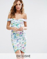 Lipsy Bardot Floral Mini Dress with Wrap Skirt