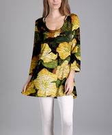Lily Yellow & Green Floral Scoop Neck Tunic - Plus Too