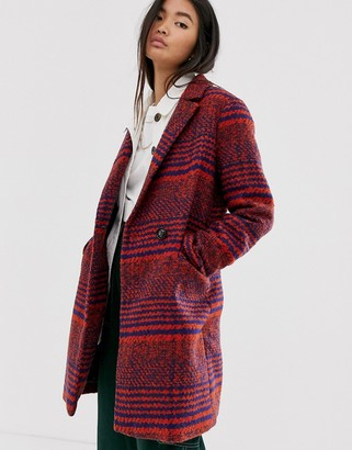 Only oversized check coat-Red