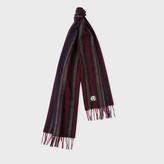 Paul Smith Men's Red Lambswool 'College Stripe' Scarf