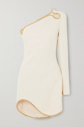 Stella McCartney Net Sustain One-sleeve Asymmetric Embellished Cady Mini Dress - White