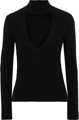 Mason by Michelle Mason Cutout Ribbed Wool And Cashmere-blend Top