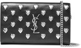 Saint Laurent Monogramme Studded Leather Shoulder Bag - Black