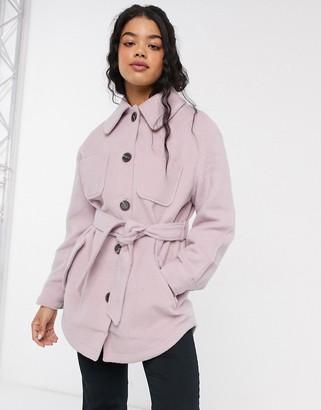 Asos Design DESIGN brushed jacket in pink