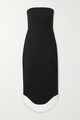 Brandon Maxwell Strapless Wool Midi Dress - Black