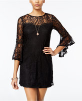 Amy Byer Juniors' Bell-Sleeve Lace Shift Dress