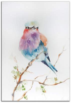 Metal Art Studio Lilac Bird, Colorful Pastels Watercolor Bird Painting, Giclee on Metal