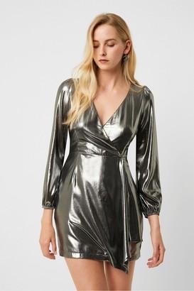 French Connection Metallic Drape Wrap Dress