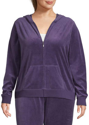ST. JOHN'S BAY SJB ACTIVE Active Velour Midweight Track Jacket-Plus