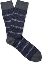 The Workers Club - Striped Mélange Cotton-blend Socks