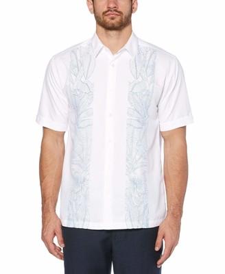 Cubavera Leaf Print Embroidery Panel Shirt
