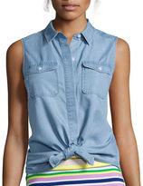 Liz Claiborne Sleeveless Chambray Boyfriend Shirt - Tall