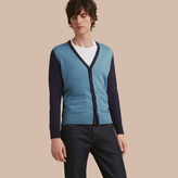 Burberry V-neck Two-tone Merino Wool Cardigan