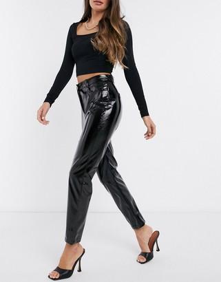 NA-KD high waisted straight leg vinyl pants in black