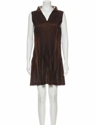 Pleats Please Issey Miyake V-Neck Mini Dress Black