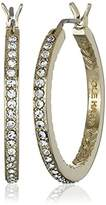 "Cole Haan Look of Real Basics"" Gold Pave Medium with Basket Weave Hoop Earrings"