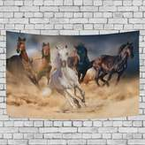 WellLee Running Horses Art Wall Tapestry Dorm Throw Bedroom Living Room Decorative Window Doorway Hanging Curtain