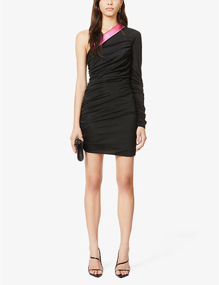 Redemption Asymmetric-neck fitted crepe mini dress