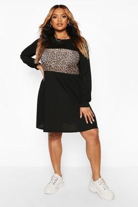 boohoo Plus Rib Leopard Contrast Swing Dress